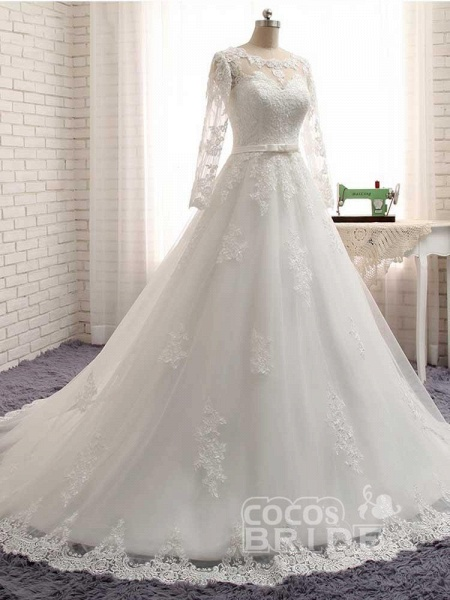 Gorgeous Long Sleeves Lace Ribbon Tulle Wedding Dresses_6