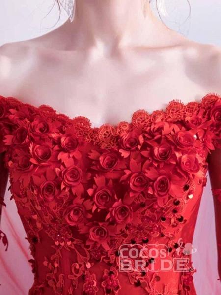 Off-the-Shoulder Lace Applique Wedding Dresses_4