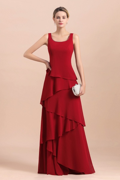 Elegant Burgundy Ruffles Chiffon Mother of the Bride Dress With Jacket_8