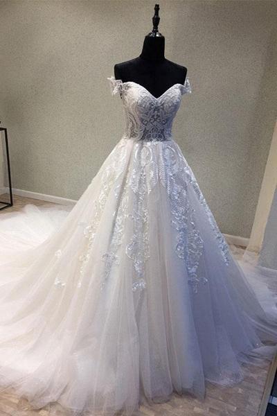 Sweetheart Neckline Off Shoulder Sweep Train Wedding Dress_1