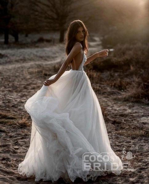 Beach Bohemian Wedding Dresses Spaghetti Backless Lace Tulle Wedding Dresses_3