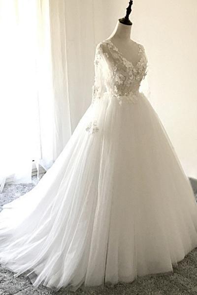 White Tulle 3D Lace Applique Open Back Long Wedding Dress_1