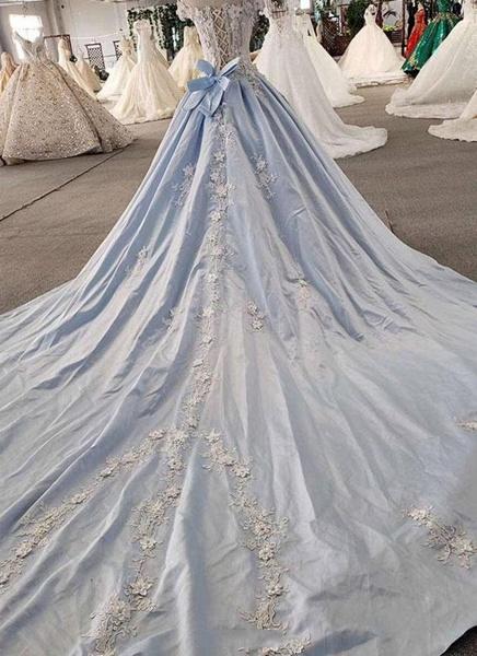 Light Blue Satin Off Shoulder Sweep Train Wedding Dress_3
