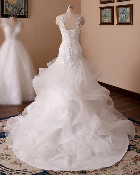 White Lace Ruffled Long Corset Bridal Mermaid Wedding Dress_5
