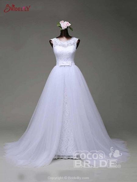 Elegant Bow Lace-Up Tulle Mermaid Wedding Dresses_5