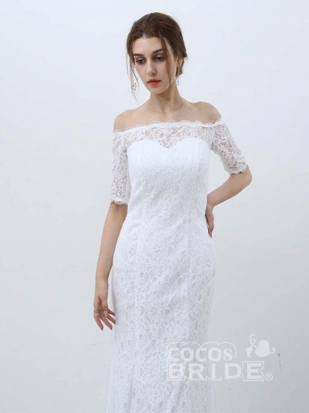 Elegant Half-Sleeves Lace Mermaid Wedding Dresses_4