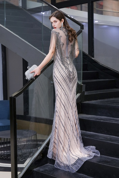 High Neck Cap sleeves Sparkle Beads Long Prom Dresses_6