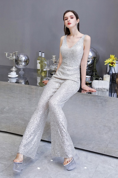 Sexy Shining V-neck Sleeveless Prom Jumpsuit with Silver Sequins_11