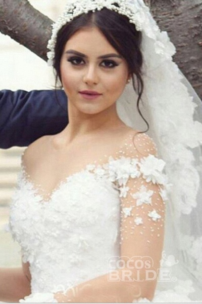 Ball Gown Sheer Neck with Flowers Long Sleeves Puffy Wedding Dress_3