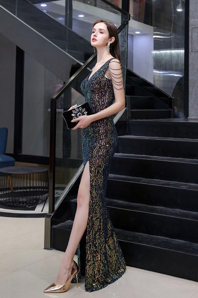 V-Neck Sequins Long Evening Dress With Split_11