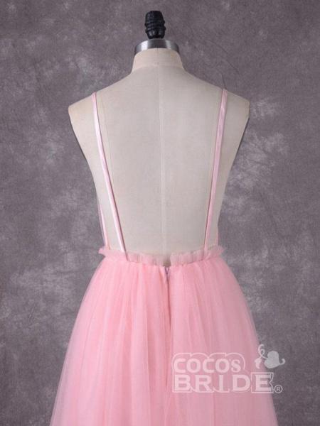 Gorgeous V-Neck Backless Tulle Wedding Dresses_5