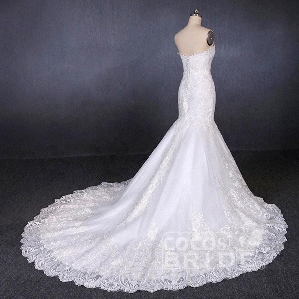 Sweetheart Long Strapless Mermaid Lace Wedding Dress_3