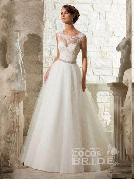 Cheap Jewel Lace A-Line Wedding Dresses_5