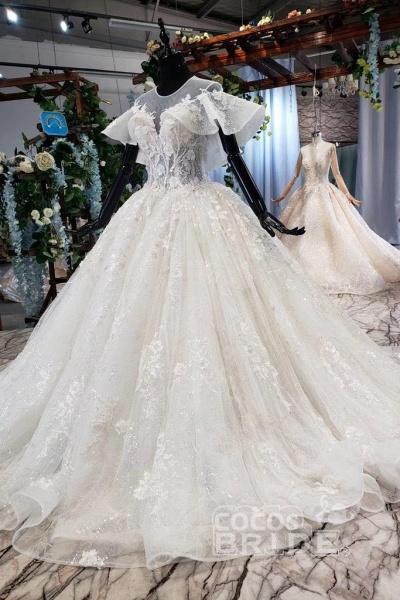 Gorgeous Ball Gown Big Princess Sleeves Wedding Dress_9