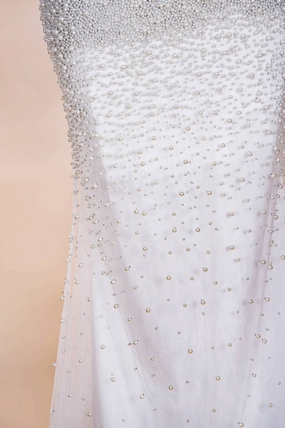 Precious Long Sleeve Beading Sheath Wedding Dress_15