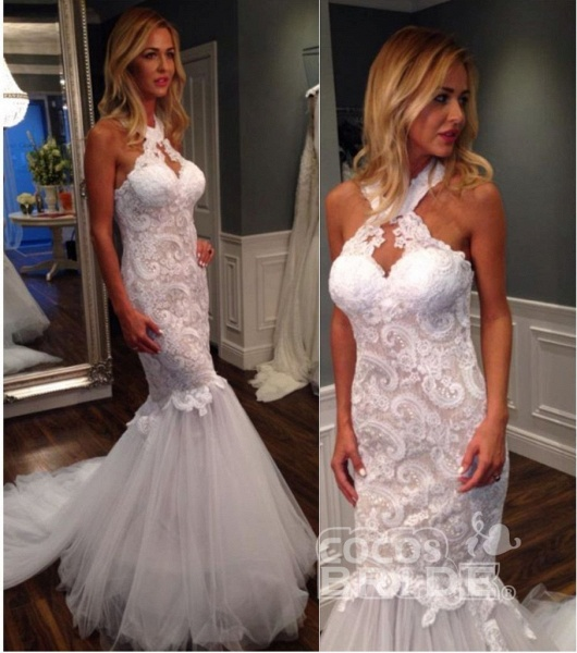 Mermaid Halter Sleeveless Tulle with Lace Appliques Long Wedding Dress_2