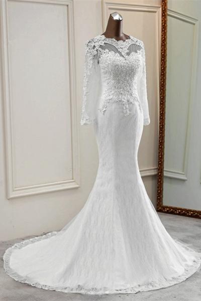 Elegant Mermaid Tulle Jewel Long Sleeves Wedding Dress_4