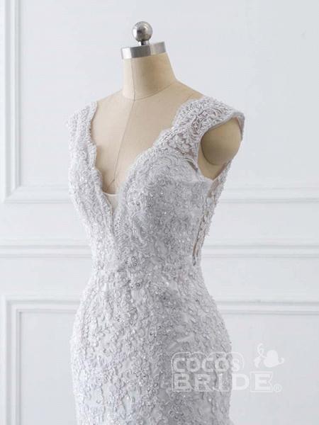 V-Neck Mermaid Lace Wedding Dresses_5