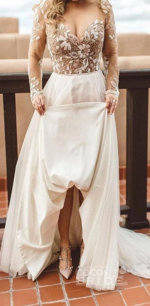 Charming Newest Beading Gorgeous Long Sleeves Unique Tulle Wedding Dress_7