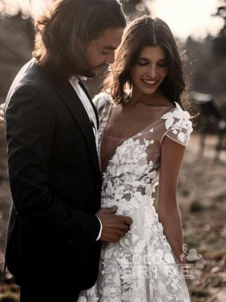 Deep V Neck Short Sleeve Backless A Line Wedding Dresses_5