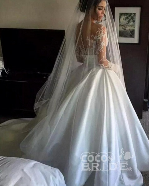 Romantic Lace Satin Skirt with Long Sleeves Illusion Back Wedding Dress_6