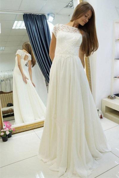 A-line Beach Gown Sweep Train Cap Sleeves Wedding Dress_1