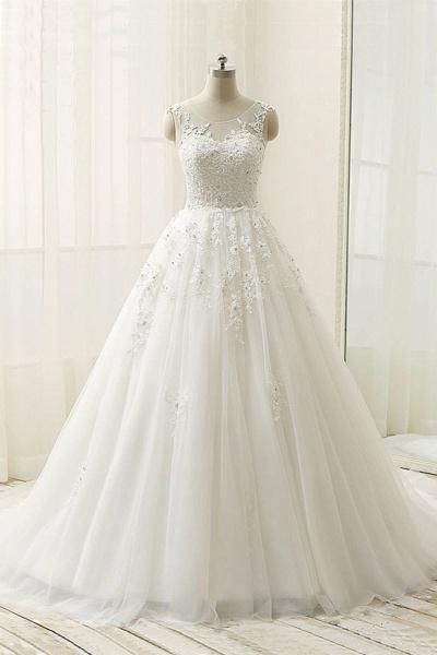 Elegant White Tulle Customize A-Line Long Wedding Dress_1