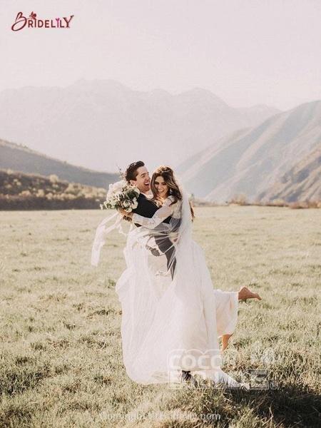 Beach Boho Wedding Dresses with Long Sleeve_4