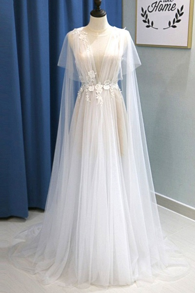 White Tulle V Neck A Line Beach Wedding Dress_1