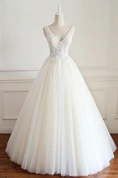 White Tulle Lace Open Back Long  Wedding Dress_1