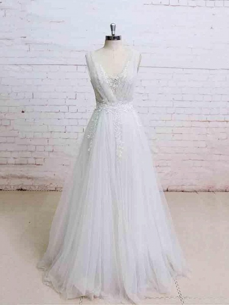 Glamorous V-Neck Backless Floor-Length Wedding Dresses_1