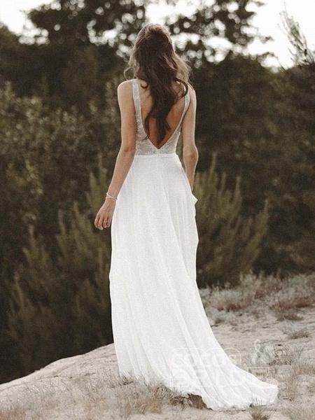 V Neck Lace Boho Wedding Dresses_6