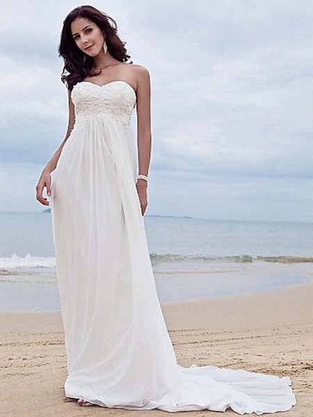 High Waist Elegant Sweetheart Ruffles Wedding Dresses_1