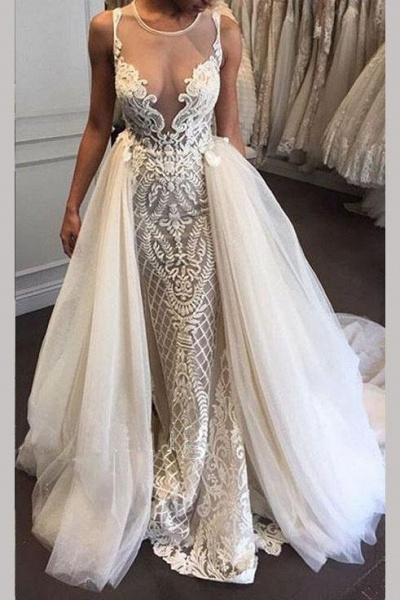 Gorgeous Illusion Tulle Detachable-Train Sleeveless Lace Applique Wedding Dress_1