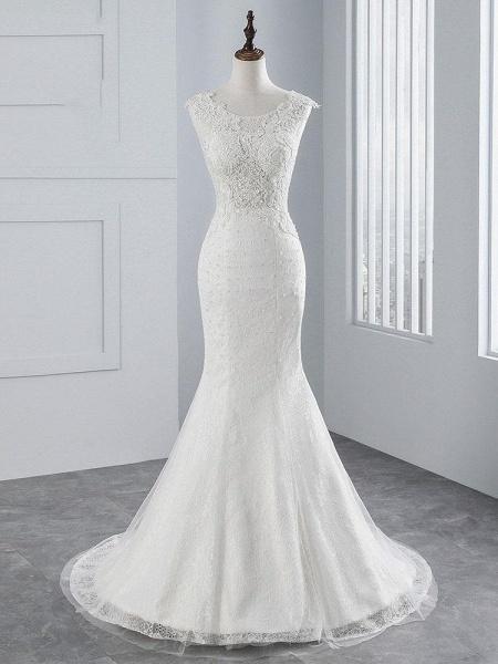 Elegant Lace Appliques Mermaid Pleated Wedding Dresses_1