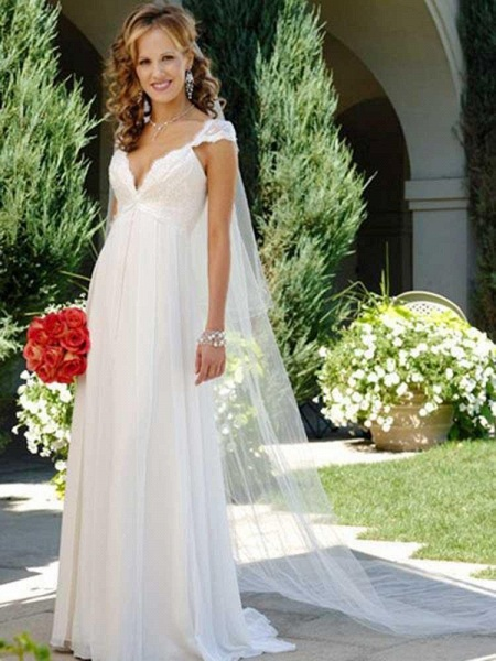 Fashionable V-Neck Cap Sleeves Lace-Up Ruffles Wedding Dresses_1