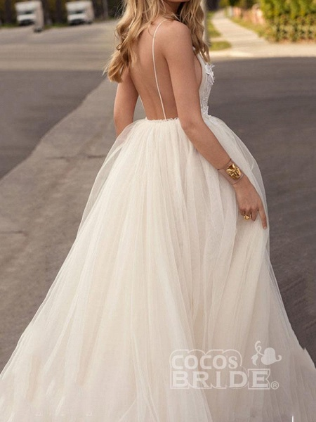 Spaghetti-Strap V-Neck A-Line Wedding Dresses_2