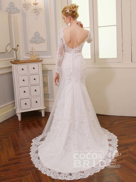 V-Neck Long Sleeves Lace Mermaid Wedding Dresses_3