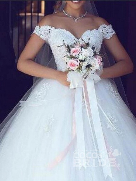 Amazing Off-the- Shoulder Lace Ball Gown Tulle Wedding Dresses_2