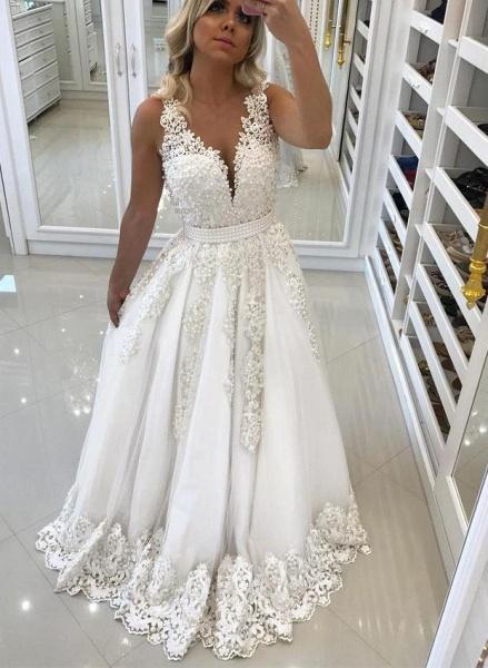 Elegant Ivory Lace and Appliques Wedding Dresses_1
