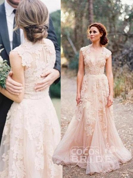 Elegant V-neck Sleeveless Cap Sleeves Floor-Length Wedding Dress_3
