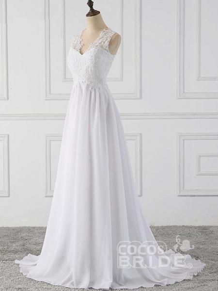 Elegant V-Neck Sleeveless Covered Button Ruffles Wedding Dresses_3