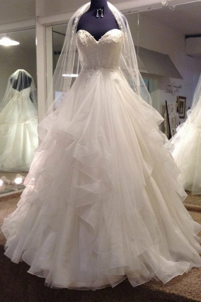 White Tulle Sweetheart Ball Gown Wedding Dress_1