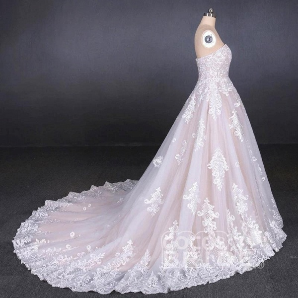 Puffy Strapless Tulle with Appliques Long Train Lace Up Wedding Dress_5