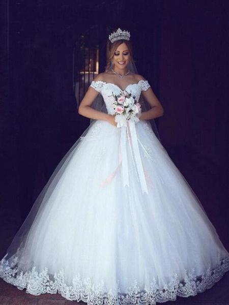 Elegant Portrait Sleeveless Ball Gown Wedding Dresses_1