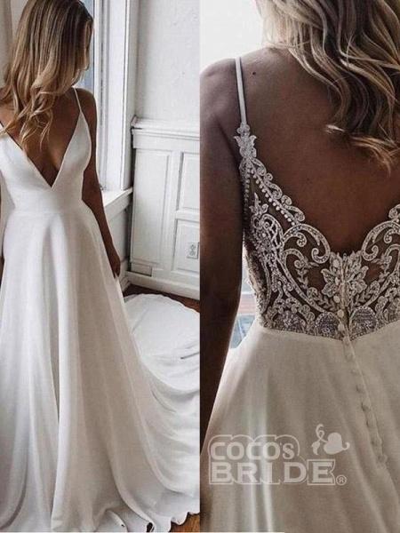 Simple V Neck Chiffon A Line Covered Button Boho Wedding Dresses_2