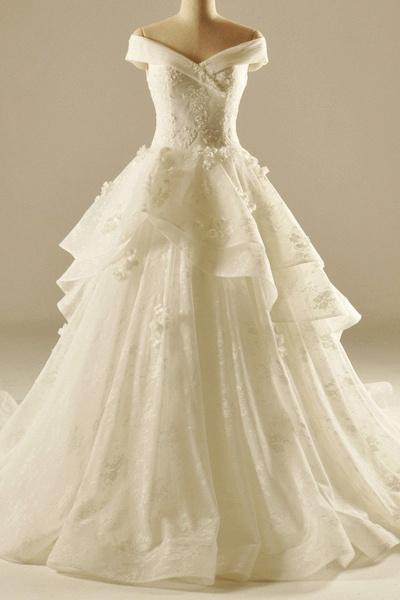 Ivory Organza Sweetheart Applique A-Line Elegant Wedding Dresses_1
