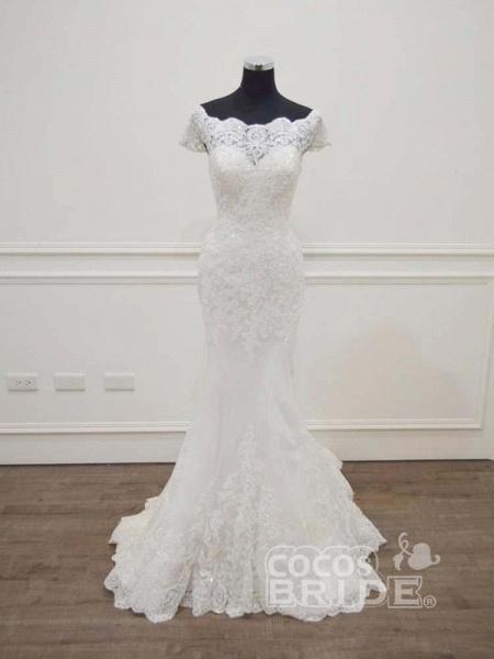 Gorgeous Bateau  Lace Mermaid Sweep Train Wedding Dresses_2