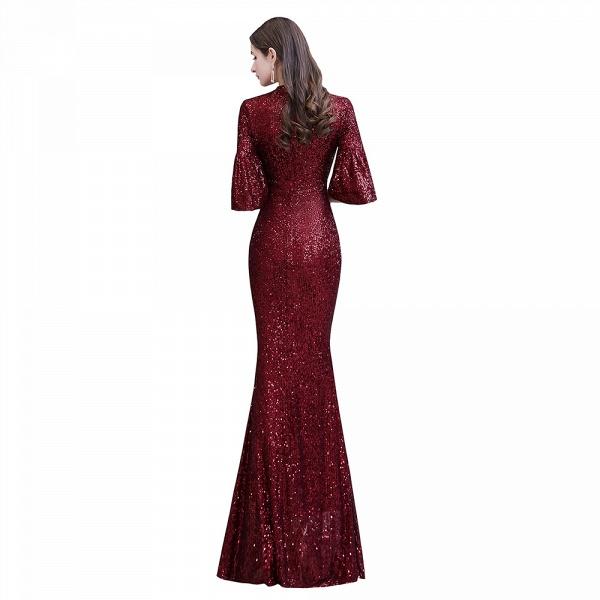 Burgundy Short Sleeve Sequins Long Prom Dress_12