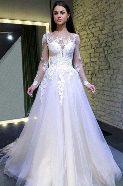 Puffy Sleeves Tulle Long Wedding Dress with Lace Appliques_1